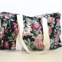 Vintage floral revival overnight carry on duffle bag / black fabric suitcase
