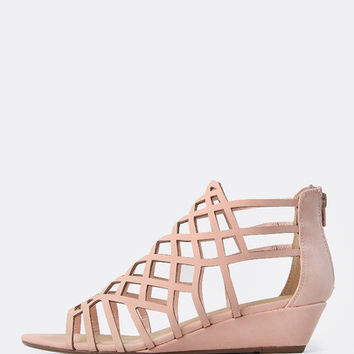 Faux Leather Caged Wedge Sandal PINK, Color - Pink