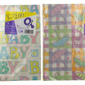 Plus Mark All Occasion Gift Wrap Baby Word Umbrella 7 Pkgs 66.4 sq ft Paper