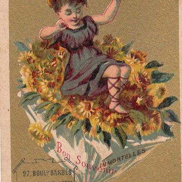 Vintage French victorian chromo  trade card from Paris .