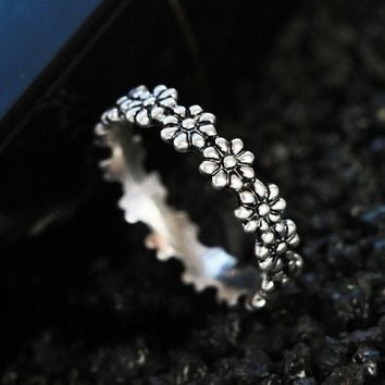 Fashion 925 Sterling Silver Lovely Little Daisy Flower Diamond Ring Anniversary Friend Gifts Pandora Jewelry
