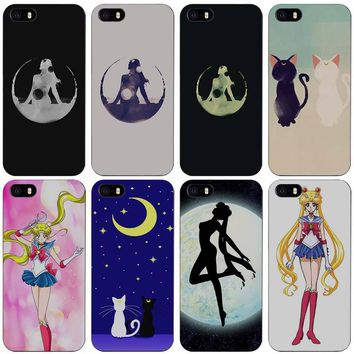Sailor Moon Black Plastic Case Cover Shell for iPhone Apple 4 4s 5 5s SE 5c 6 6s 7 Plus