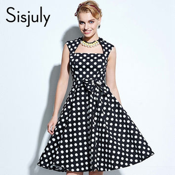 Sisjuly Vintage 50s Polka Dot Dress Rockabilly Pin Up Dress Vintage Polka Dot Dress Grace Style Party Dresses Retro Bow Elegant