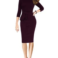 Maroon Long Sleeve Peplum Midi Dress