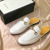 Gucci Princetown Embroidered White Leather Slipper Sandals - Sale