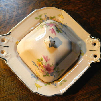 Lovely Pink Floral China Covered Plate or Candy Dish with Platinum Trim Made by Taylor Smith & Taylor