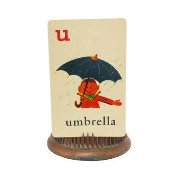 "Illustrated Alphabet FlashCard, Letter ""U"" Umbrella Boy Rain Picture ABC Card, Kitschy Mid Century, Collage Scrapbook Ephemera, Vintage 50's"