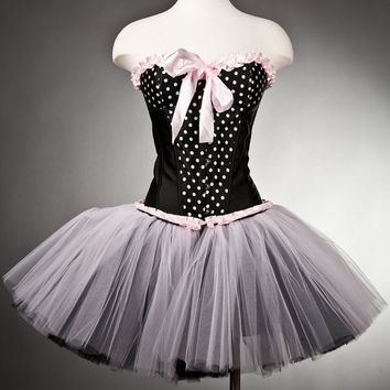 Size small black and white polka dot with pink trim tulle burlesque corset dress Ready To Ship