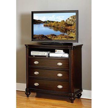 Contemporary Wooden TV Chest With 3 Drawers And 1 Open Shelf, Dark Cherry Brown