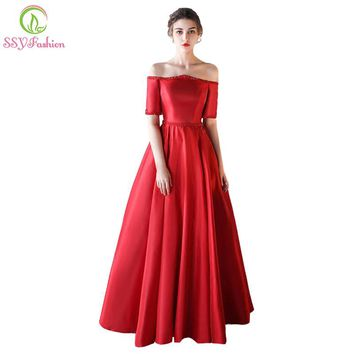 New The Banquet Evening Dress The Bride Married Luxury Red Satin Boat Neck Beading Floor-length Formal Party Gown