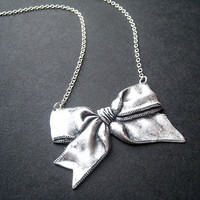 Bow Necklace On Sterling Silver Chain by ohdeercreations on Etsy