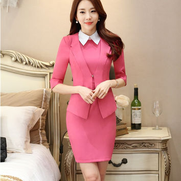 Formal Pink Fashion Slim OL Styles Professional Business Women Uniforms Design Blazer Suits With Jackets And Dress Office Sets