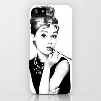 Audrey Hepburn iPhone & iPod Case by Jade Chauvin