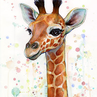 Nursery Art Decor Print Baby Giraffe Watercolor Baby Animal, Baby Girl Baby Boy Children Colorful Zoo Animal