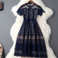 Nice Lace Embroidered Crochet Gauze Dress Party Dress For Women