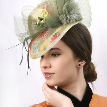 Ascot HAT FREE SHIPPING! Romantic spring flowers Royal Ascot Hat,Olive green Kentucky derby Fascinator, Wedding headpiece, Haute couture hat