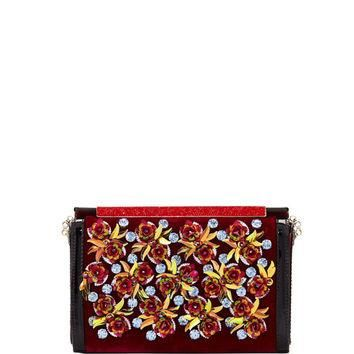Christian Louboutin Vanite Rose-Embellished Velvet Clutch Bag