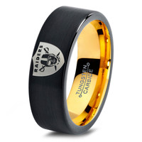 Oakland Raiders Ring Mens Fanatic NFL Sports Football Boys Girls Womens NFL Jewelry Fathers Day Gift Tungsten Carbide 232-Y