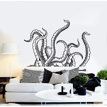 Wall Stickers Vinyl Decal Tentacles Calamar Deep Sea Horror Scary Ocean (z2153)
