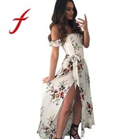 Feitong Summer Dresses Boho Style Chiffon Off Shoulder Beach Dress Floral Print Long Maxi Dress vestidos femininos robe 2018 New