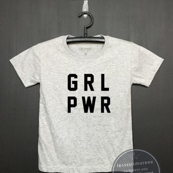 GRL PWR Shrit / Girl Power Shirt, Kids Birthday Shirt - Girls Clothing- Funny Birthday, Kid Shirt, little girl, hipster kids, Flock printing