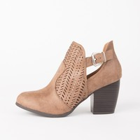 Perforated Buckled Heel Booties