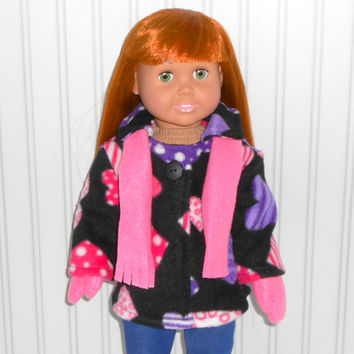 18 inch Girl Doll Clothes Black Coat with Pink Hearts Fleece Jacket with Mittens and Scarf American Doll Clothes
