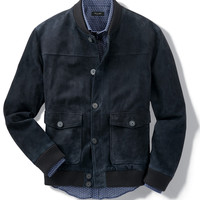 W&K Button-Front Suede Bomber