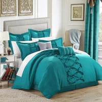 Ruth Ruffled Turquoise 12 Piece Embroidery Comforter Bed In A Bag Set