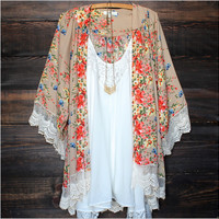NEW Sexy Women Swimwear Floral Lace Kimono Cardigan Kaftan Cover Up Beach Dress printed floral beach bikini cover ups blouse