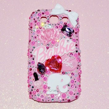 Samsung Galaxy S3 Decoden Phone Case Crystals, Pink Barbie Themed, Hearts, Jewels, Bow Rhinestones, Kawaii Ready To Ship