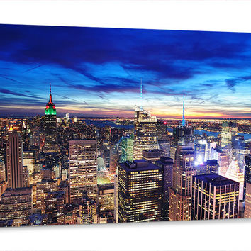 Large Wall Art Canvas Print New York City Midtown Skyline at Night  | Framed Streched Canvas | Large Wall Art Landscape Canvas Painting