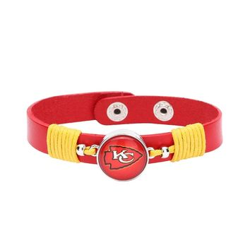 10pcs/lot! Adjustable Premium Leather Ginger Snaps Bracelet with a Kansas City Chiefs 18mm Snap  for Men,Women and Teens