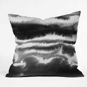 Jacqueline Maldonado Ombre Waves Black and White Outdoor Throw Pillow