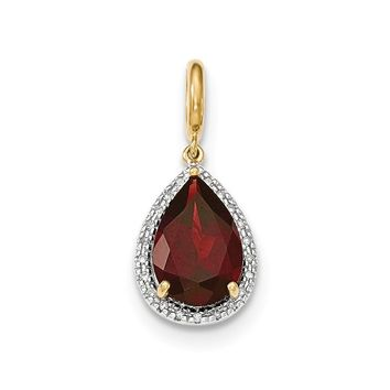 0.1 Ct  14k Yellow Gold Garnet W/diamond Halo Pendant