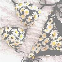 CUTE FLOWER YELLOW BIKINI