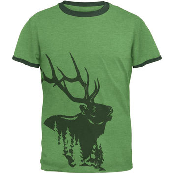 Elk In The Woods Silhouette Mens Ringer T Shirt