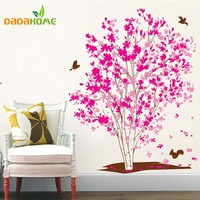 One Tree Dream Pink Flowers Birds Wall Stickers