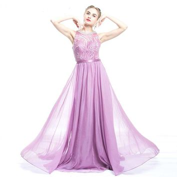 Evening Dress Luxury Crystal O-neck Prom Dresses Long A-Line Party Gown