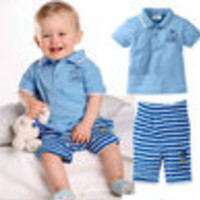 retail 2014 summer new design children clothing set for baby boy turn-down collar baby blue top shirt + striped cotton pants - Default