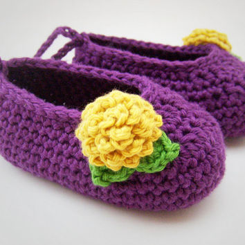 Baby Girl Shoes Purple with Yellow Flowers by JennOzkan on Etsy