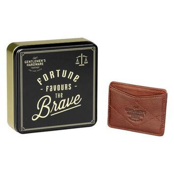 WILD AND WOLF FORTUNE FAVOURS THE BRAVE LEATHER CARD WALLET