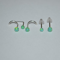 Silver Green 3mm Opal Nose Stud - Ear Ring, 20 gauge cartilage,helix,tragus,ear small earring, 20g jewelry