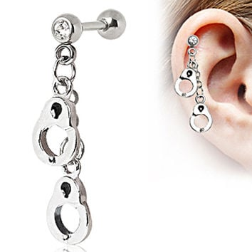 316L Surgical Steel Handcuffs Dangle Cartilage Earring