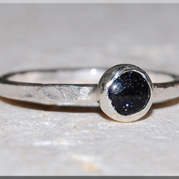 Blue Goldstone Stacking Ring, Simple Stacking Ring, Dainty Sterling Ring, Stackable Sterling Silver Garnet Ring, Hammered Stacking ring