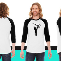 hairstylist man happy with scissors held above his head American Apparel Unisex 3/4 Sleeve T-Shirt