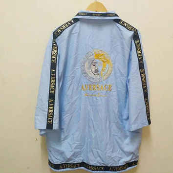 A. Versace Madusa jacket Embroidery big logo windbreaker spellout gold