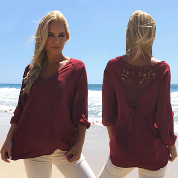 Elegant Lace Blouse In Wine