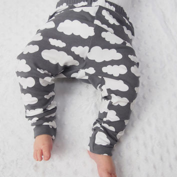 Baby Leggings - Grey Cloud - Unisex Baby - Girls Clothing - Boys Leggings - New Baby Gift - Baby Boys Clothes - Girls Pants - Cloth Diaper