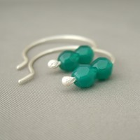 Sea Green Czech Glass and Sterling Silver Hoop Simple Elegant Earrings | The Silver Forge Handcrafted Jewellery